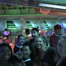 Employees in line at space mountain at Disneyland.